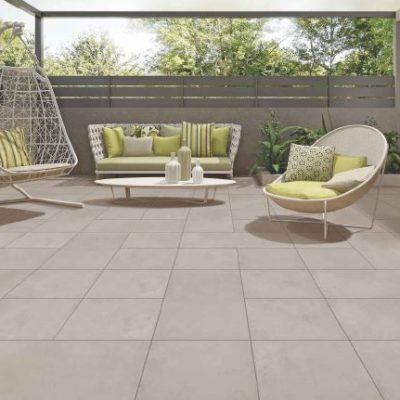 Simpolo Exterior Floor Tile Full Body 10mm Salted Concrete Ash  800x398 + 398x398