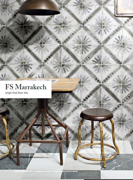 Spanish Ceramic Wall Tiles Marrakech Grey 450x450